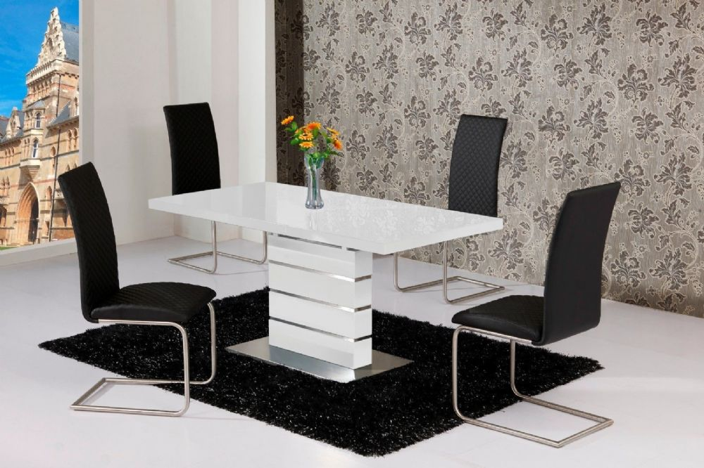 Sensational Mace High Gloss Extending 120 160 Dining Table Chair Set White Ncnpc Chair Design For Home Ncnpcorg